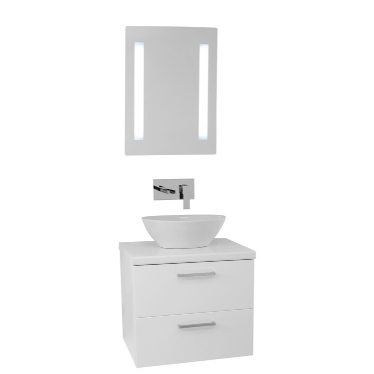 Vanity Iotti AN578 22 Inch Glossy White Vessel Sink Bathroom Vanity
