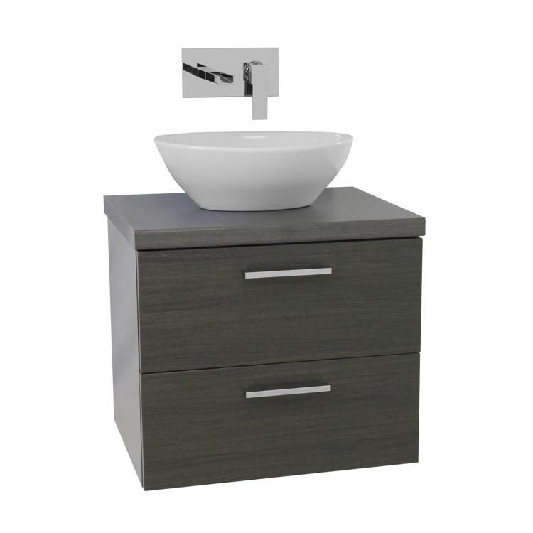 Iotti An45 By Nameek S Aurora 22 Inch Grey Oak Vessel Sink Bathroom Vanity Wall Mounted Thebathoutlet