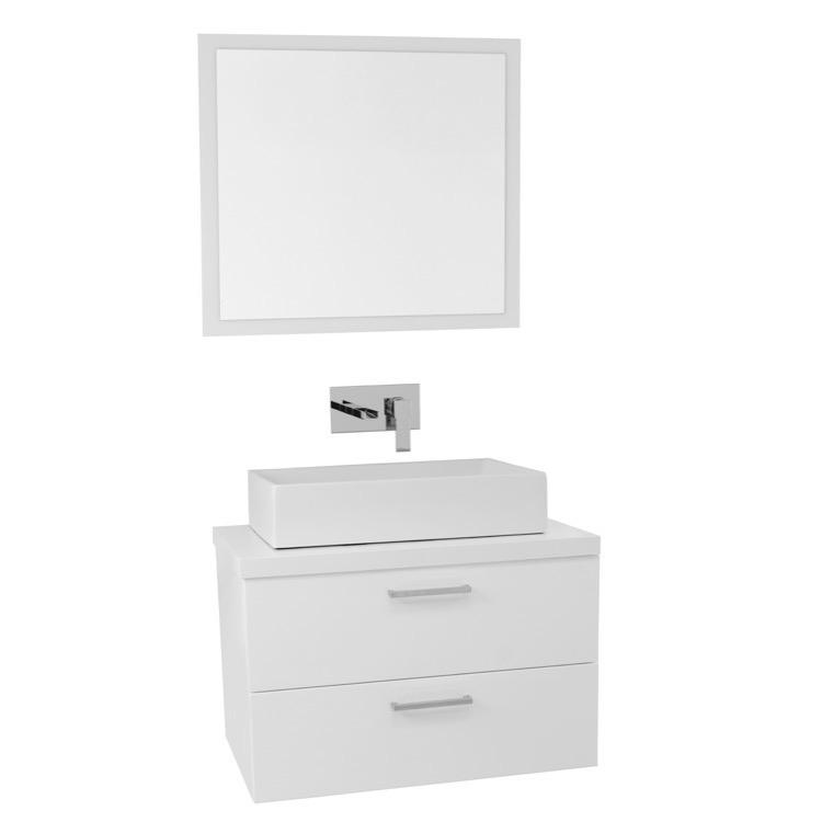 Vanity Iotti AN663 30 Inch Glossy White Vessel Sink Bathroom Vanity