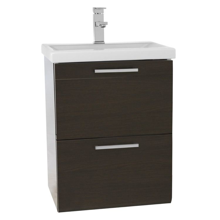 ... 19 Inch Small Wenge Wall Mounted Bathroom Vanity with Fitted Sink LN18