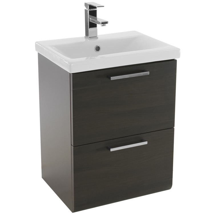 Luna 19 Inch Small Wenge Wall Mounted Bathroom Vanity with Fitted Sink ...