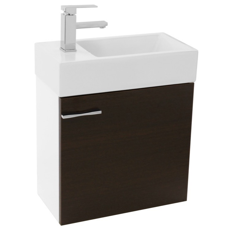 wenge wall mounted bathroom vanity sink lighted mirror included. Black Bedroom Furniture Sets. Home Design Ideas