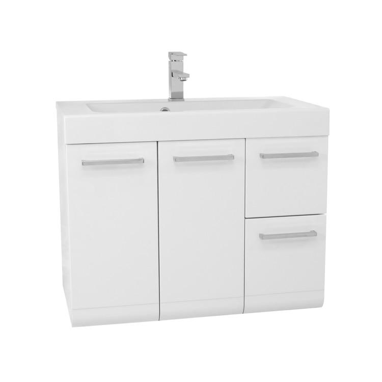 Bathroom Vanity Iotti MC01 30 Inch Wall Mount Glossy White Bathroom