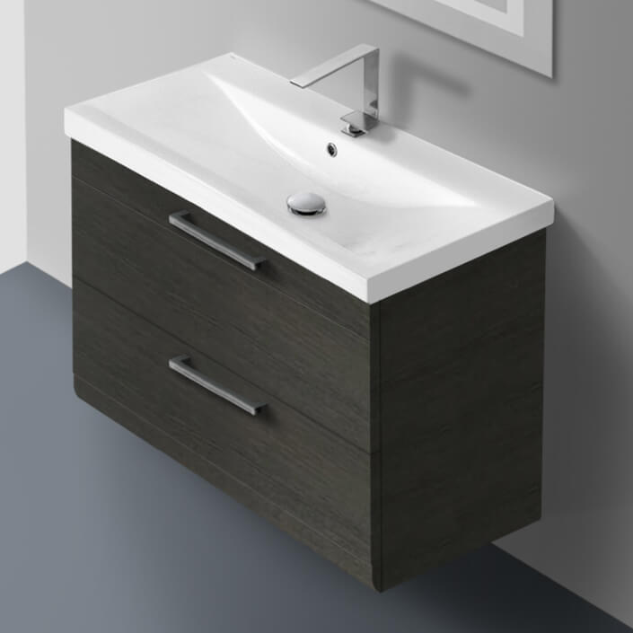 Bathroom Vanity, Iotti LN23, 30 Inch Grey Oak Wall Mounted Vanity with Fitted Sink