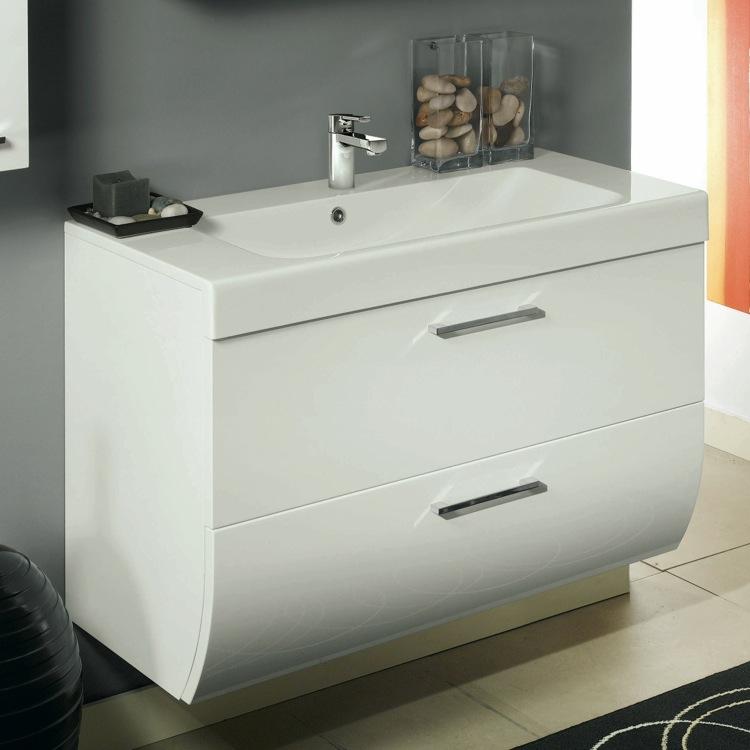 Charming Bathroom Vanity, Iotti NN1C, 2 Drawers Vanity Cabinet With Self Rimming Sink