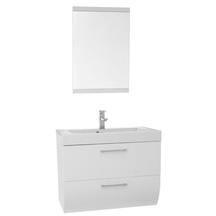 Bathroom Vanity Iotti NN46 30 Inch Wall Mount Glossy White Bathroom