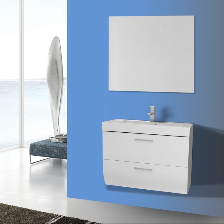 Bathroom Vanity Iotti Nn44 30 Inch Wall Mount Glossy White Set