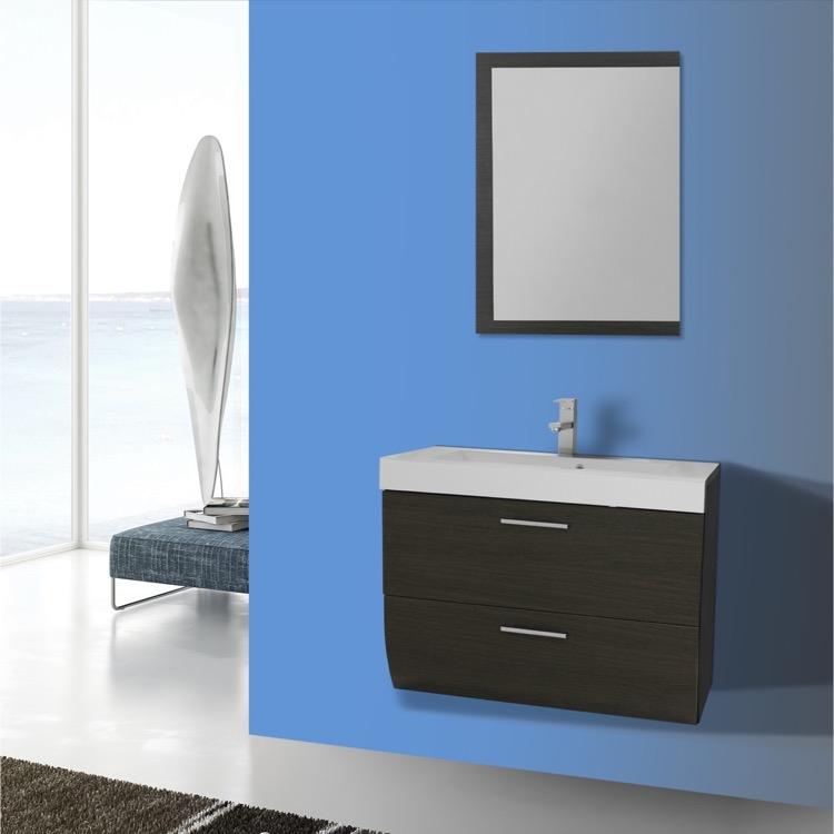 Bathroom Vanity Iotti Nn36 30 Inch Wall Mount Grey Oak Set