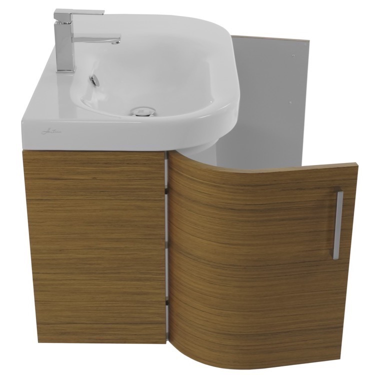 bathroom vanity iotti rc27 34 inch curved teak wall bathroom vanity