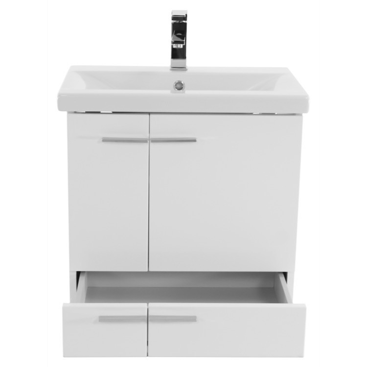 glossy white wall mounted vanity with ceramic sink medicine cabinet