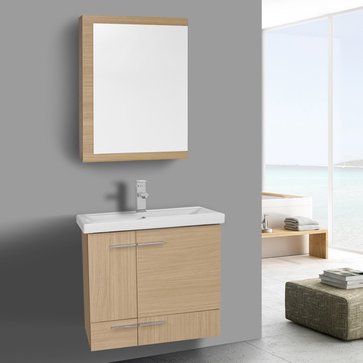 24 inch natural oak wall mounted vanity with ceramic sink