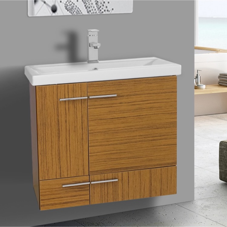 24 Inch Teak Wall Mounted Vanity with Ceramic Sink, Iotti NS12 ...