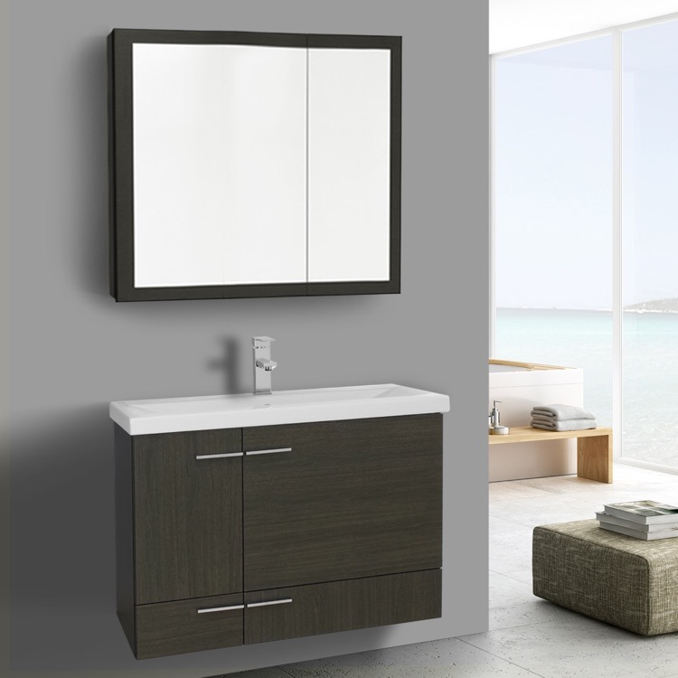 32 Inch Grey Oak Wall Mounted Vanity With Ceramic Sink Medicine Cabinet Included