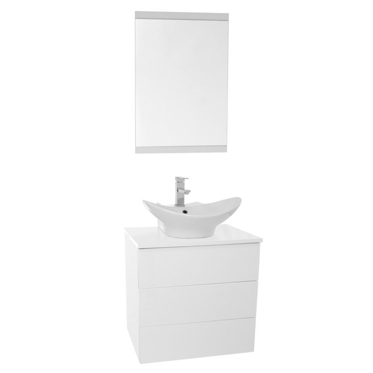 24 inch glossy white vessel sink bathroom vanity wall mounted mirror