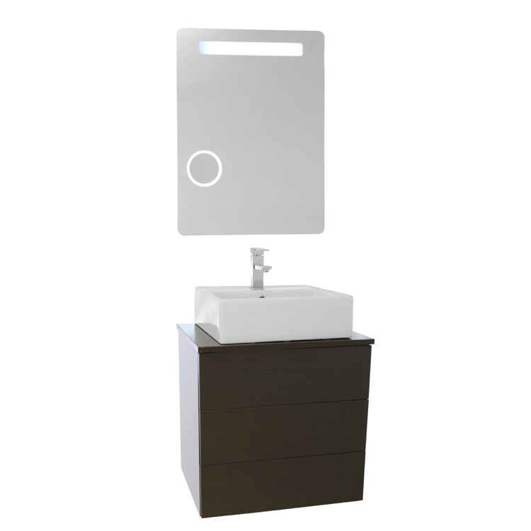 vessel sink bathroom vanity wall mounted lighted mirror included. Black Bedroom Furniture Sets. Home Design Ideas
