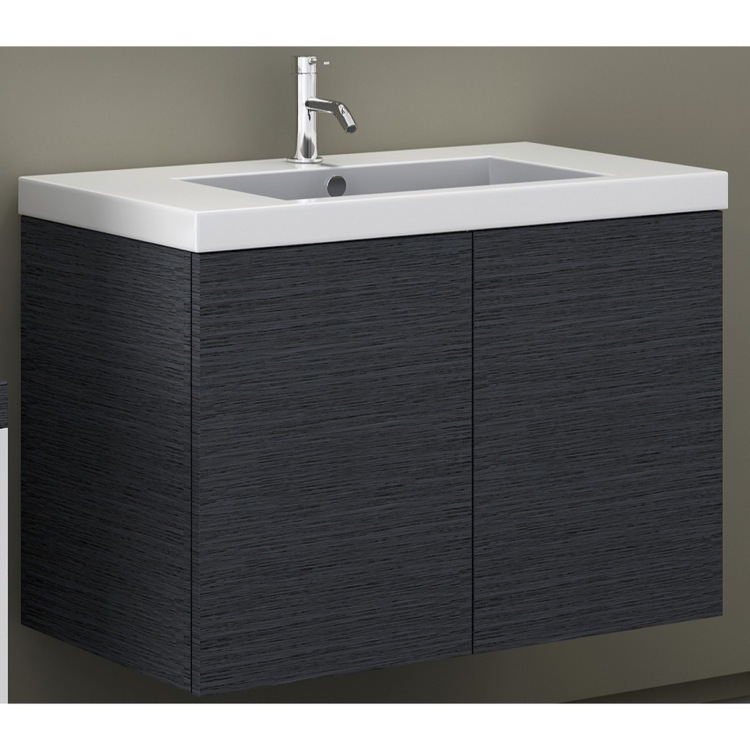 Bathroom Vanity, Iotti SE02C-Gray Oak, 31 Inch Vanity Cabinet with Self Rimming Sink