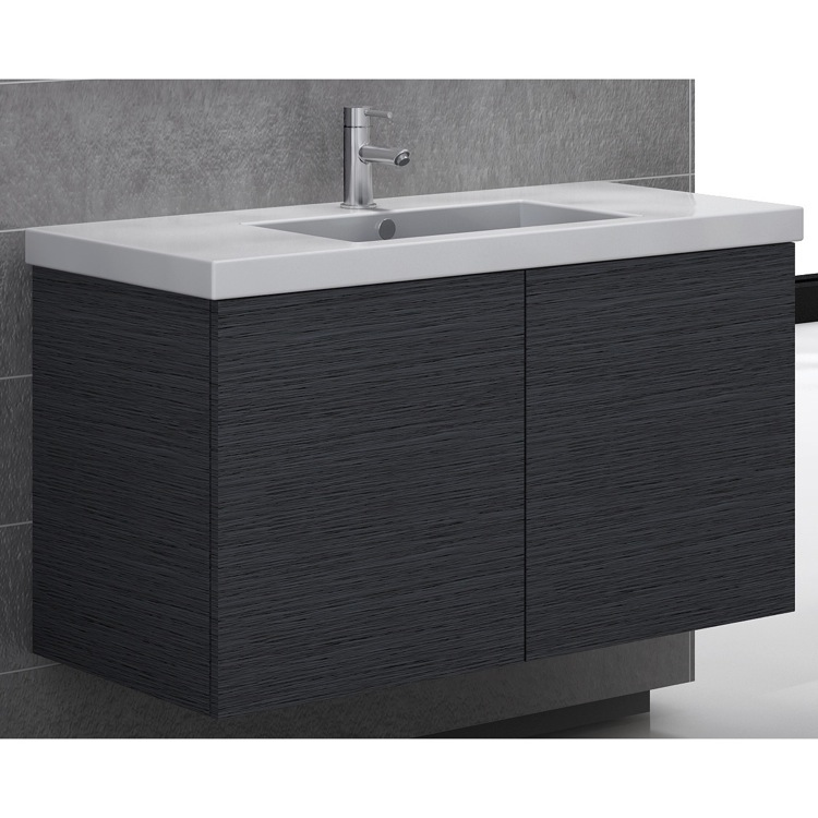 Bathroom Vanity, Iotti SE04C-Gray Oak, Vanity Cabinet with Self Rimming Sink and 2 Doors