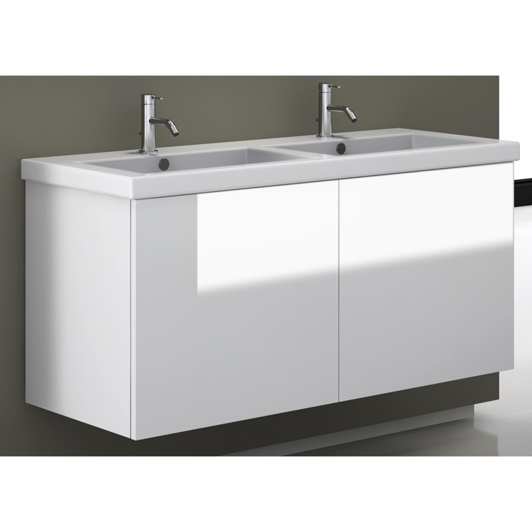 Bathroom Vanity, Iotti SE06C-Glossy White, 47 Inch Vanity Cabinet with Double Fitted Sink
