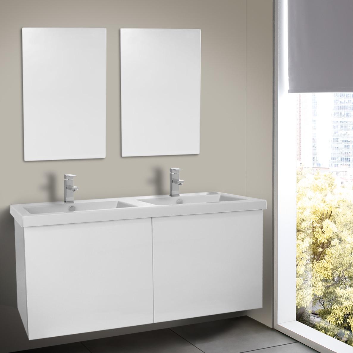 Inch Glossy White Double Bathroom Vanity With Ceramic Sink - 47 bathroom vanity sink cabinet