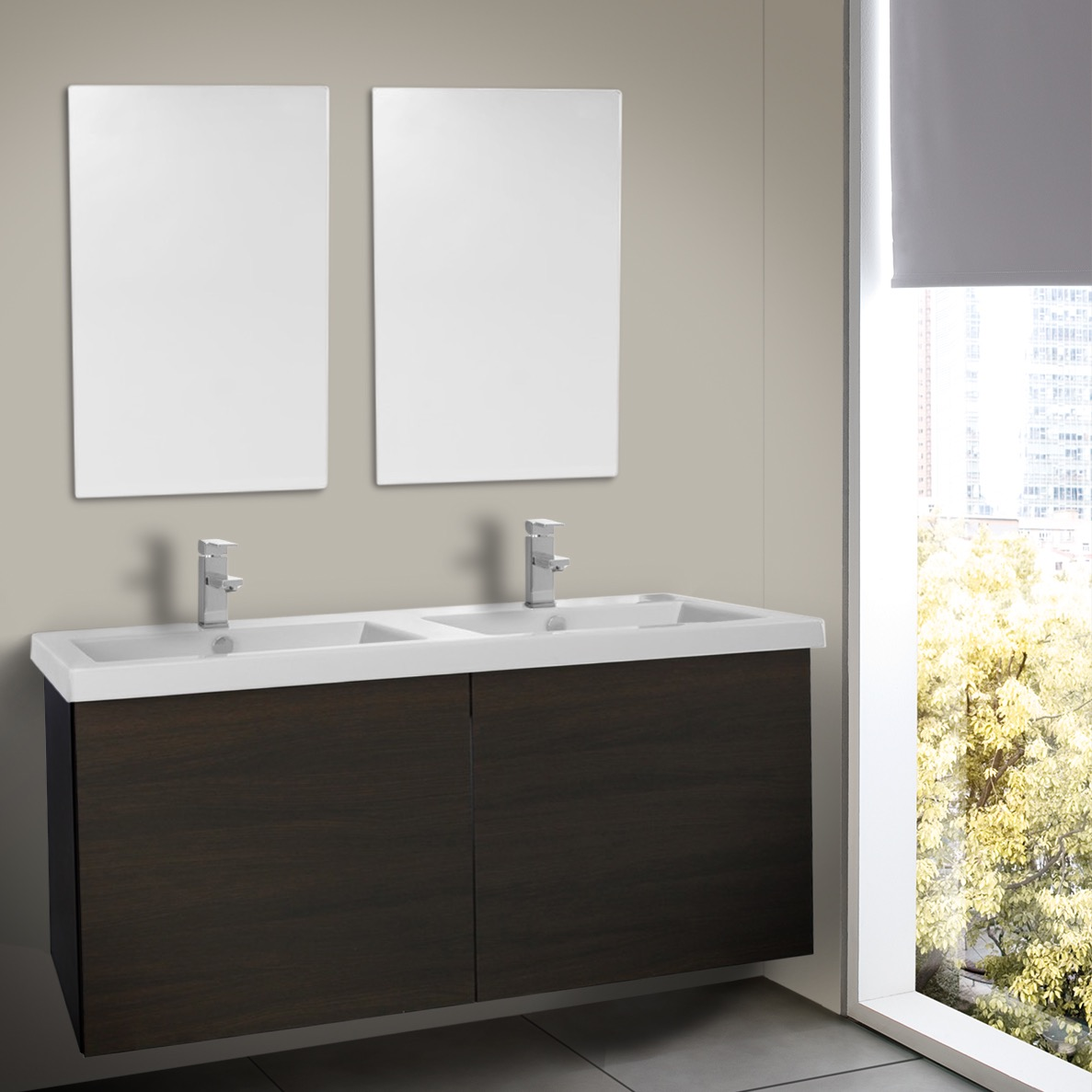 47 Inch Wenge Double Bathroom Vanity with Ceramic Sink, Mirrors ...