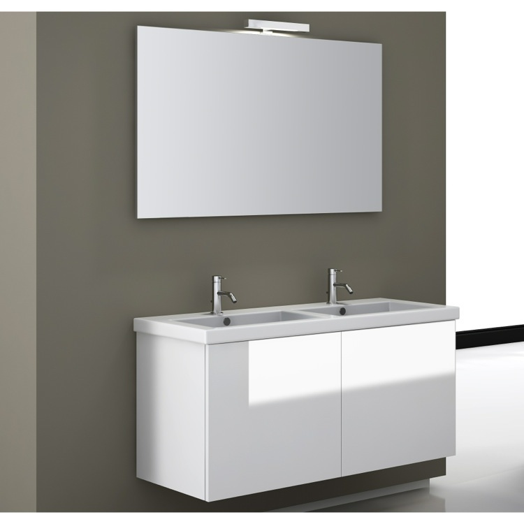 Bathroom Vanity, Iotti SE06-Glossy White, 47 Inch Bathroom Vanity Set