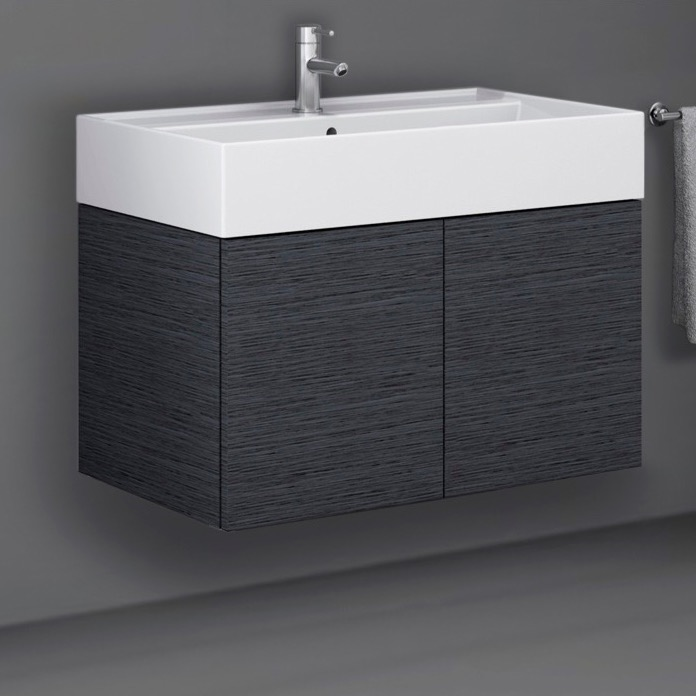 Bathroom Vanity, Iotti SM03C-Gray Oak, 2 Doors Vanity Cabinet with Self Rimming Sink