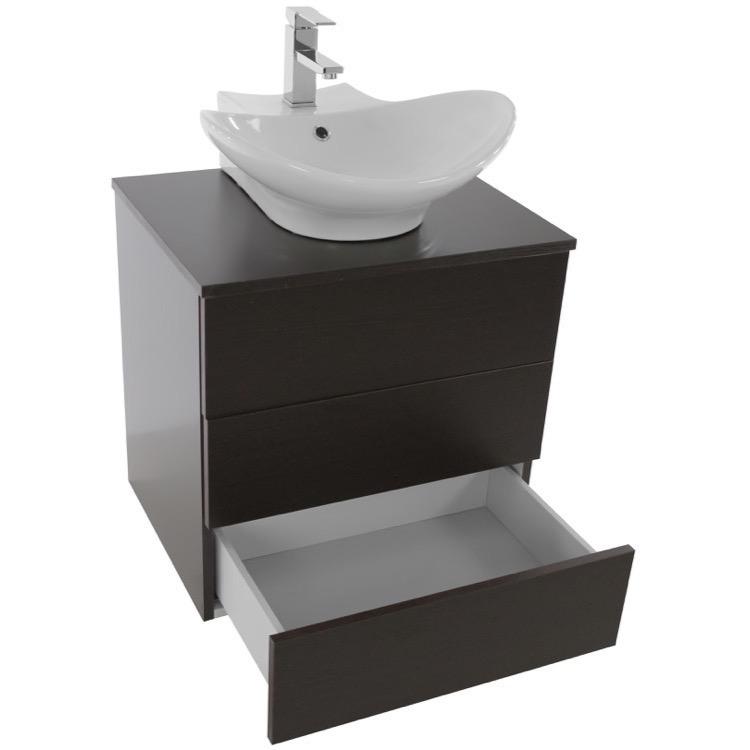 Bathroom Vanity, Iotti TN453, 24 Inch Wenge Vessel Sink Bathroom ...