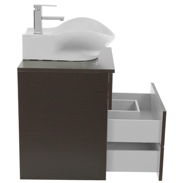 Bathroom Vanity, Iotti TN454, 24 Inch Wenge Vessel Sink Bathroom ...