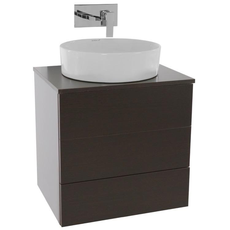 Vanity, Iotti TN484, 24 Inch Wenge Vessel Sink Bathroom Vanity ...