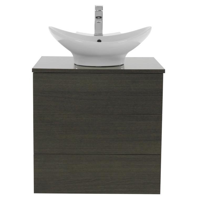 Vanity, Iotti TN15, 24 Inch Grey Oak Vessel Sink Bathroom Vanity ...