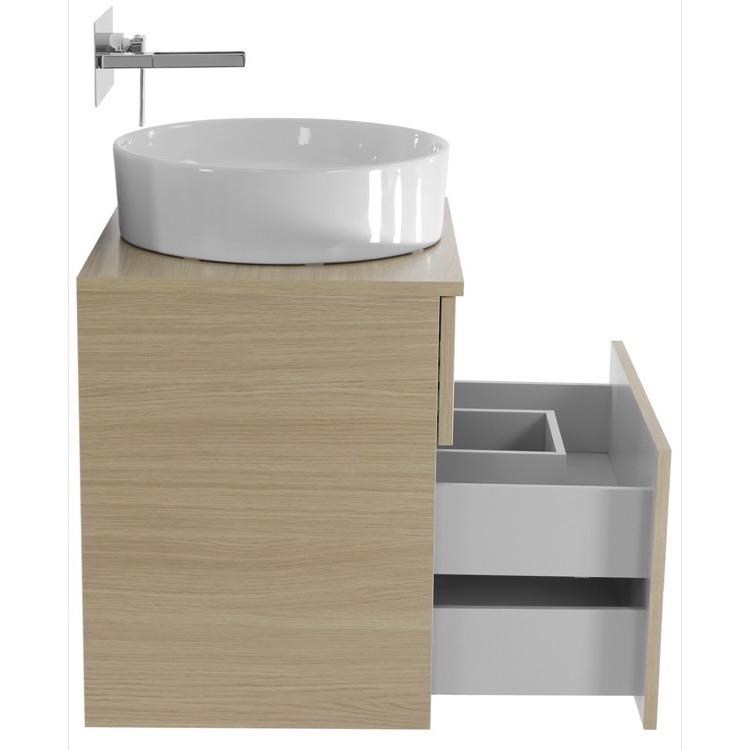Bathroom Vanity, Iotti TN499, 24 Inch Natural Oak Vessel Sink Bathroom ...
