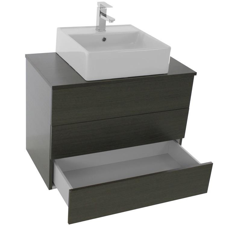 Iotti Tn91 By Nameek S Time 32 Inch Grey Oak Vessel Sink Bathroom Vanity Wall Mounted Thebathoutlet