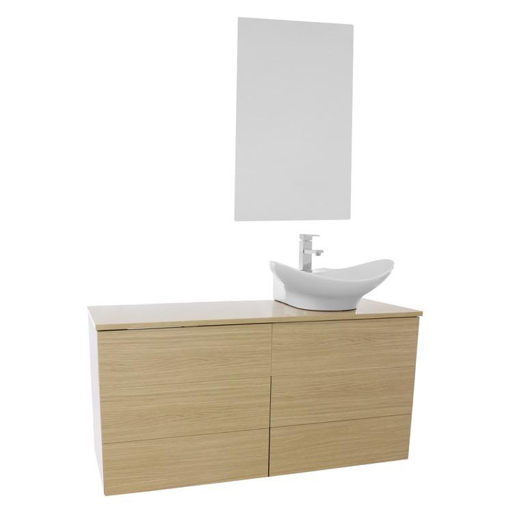 ... Natural Oak Vessel Sink Bathroom Vanity, Wall Mounted, Mirror Included