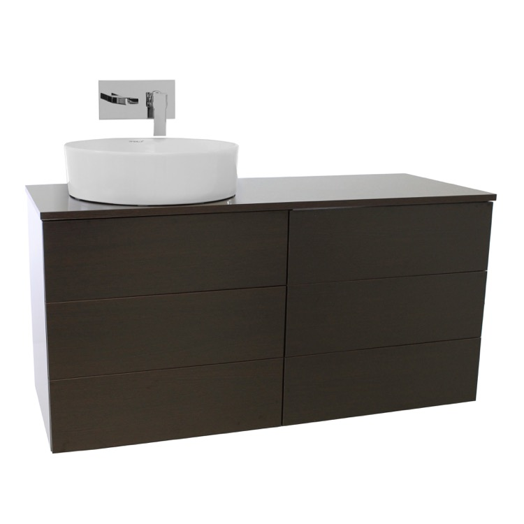 ... Iotti TN258, 47 Inch Wenge Vessel Sink Bathroom Vanity, Wall Mounted