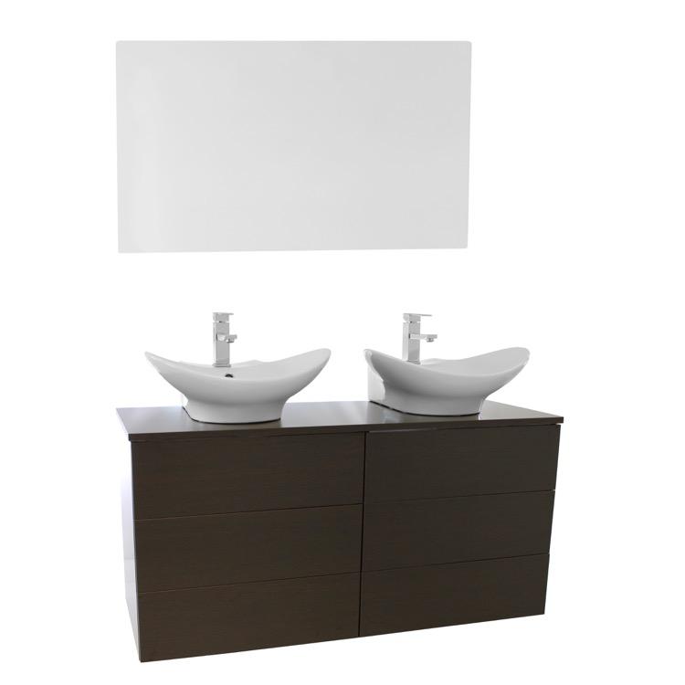 Wall Mounted Double Sink : 47 Inch Wenge Double Vessel Sink Bathroom Vanity, Wall Mounted, Mirror ...