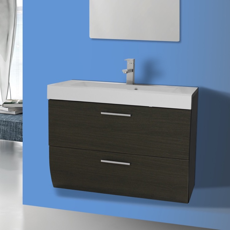 Bathroom Vanity, Iotti NN1C-Gray Oak, 2 Drawers Vanity Cabinet with Self Rimming Sink