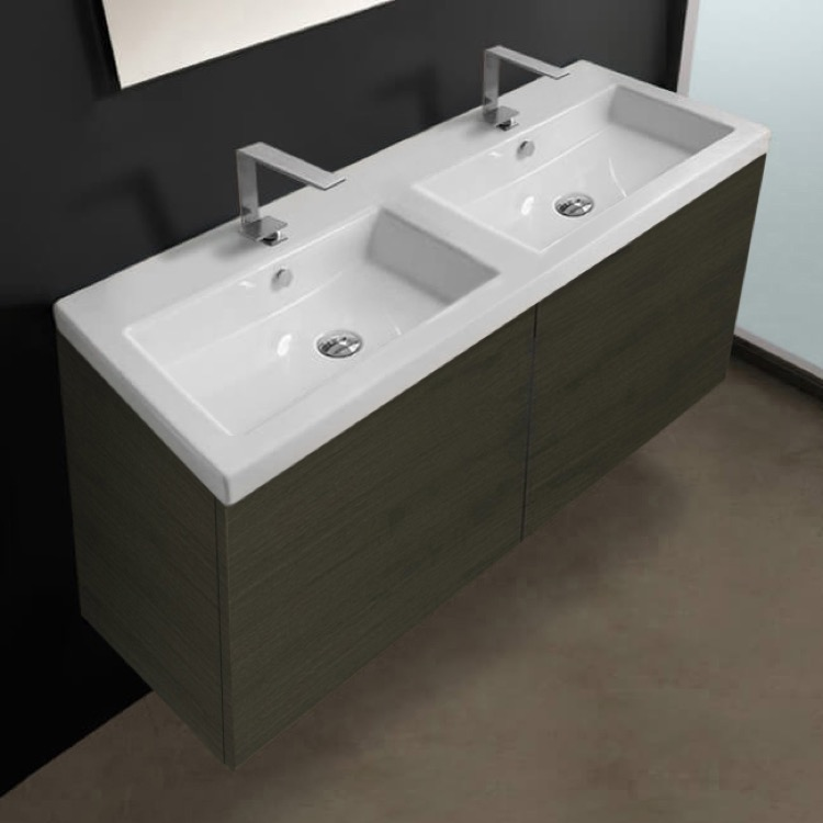 Bathroom Vanity, Iotti SE06C-Gray Oak, 47 Inch Vanity Cabinet with Double Fitted Sink