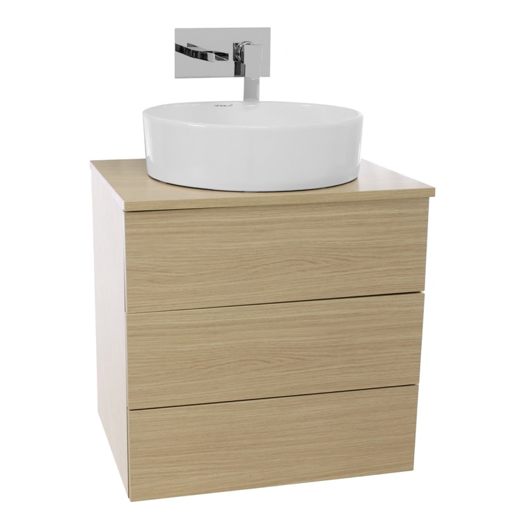 Bathroom Vanity, Iotti TN20, 24 Inch Natural Oak Vessel Sink Bathroom ...