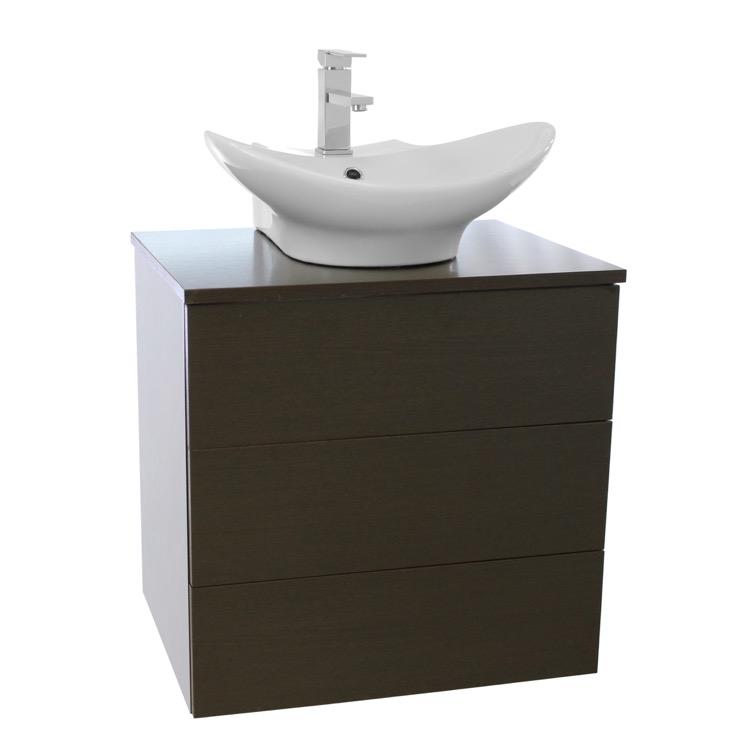 Bathroom Vanity, Iotti TN14, 24 Inch Wenge Vessel Sink Bathroom Vanity ...