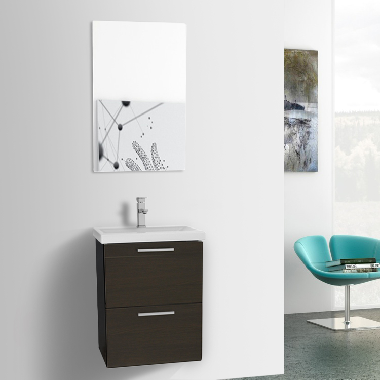 19 Inch Small Wenge Wall Mounted Bathroom Vanity With Fitted Sink Mirror Inc