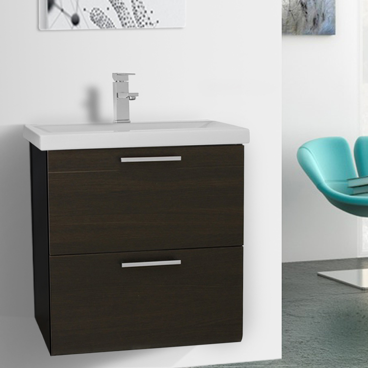 Bathroom Vanity, Iotti LN26, 23 Inch Wenge Wall Mounted Vanity with Fitted Sink