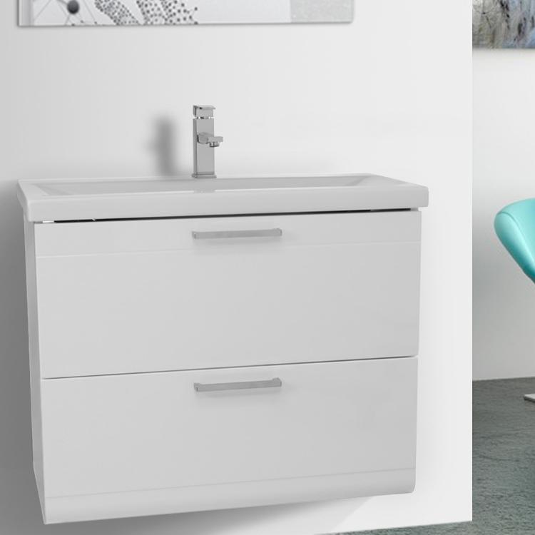 white wall mount vanity