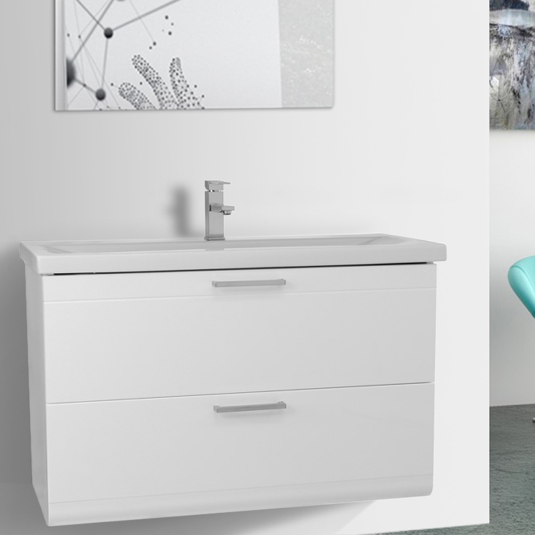 Bathroom Vanity, Iotti LN29, 38 Inch Glossy White Wall Mounted Vanity with Fitted Sink