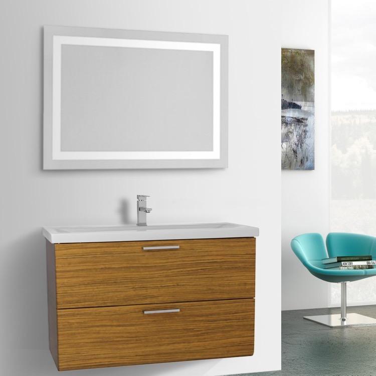 Bathroom Vanity Iotti Ln467 38 Inch Teak Wall Mounted Lighted