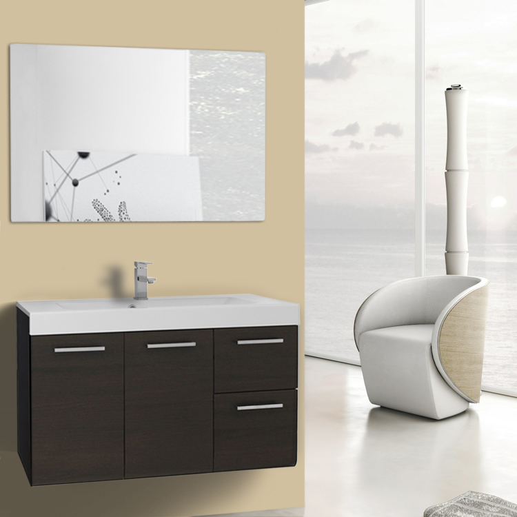 38 inch wenge wall mounted vanity with ceramic sink
