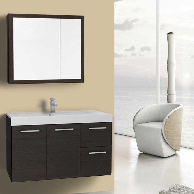 Inch Wenge Wall Mounted Vanity With Ceramic Sink Medicine - 38 inch bathroom vanity