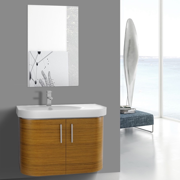 Bathroom Vanity Iotti Rc143 34 Inch Curved Teak Wall With Ed Sink