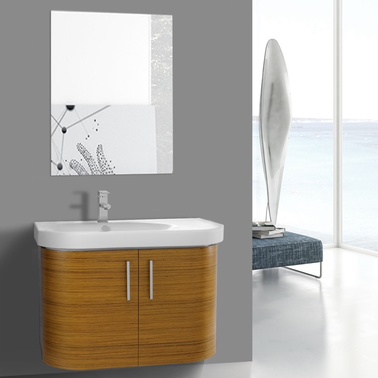 Bathroom Vanity, Iotti RC33, 34 Inch Curved Teak Wall Bathroom Vanity With  Fitted Sink