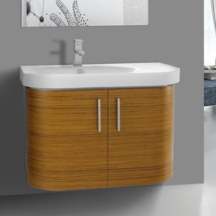 Bathroom Vanity, Iotti RC03, 34 Inch Wall Mount Teak Bathroom Vanity Set