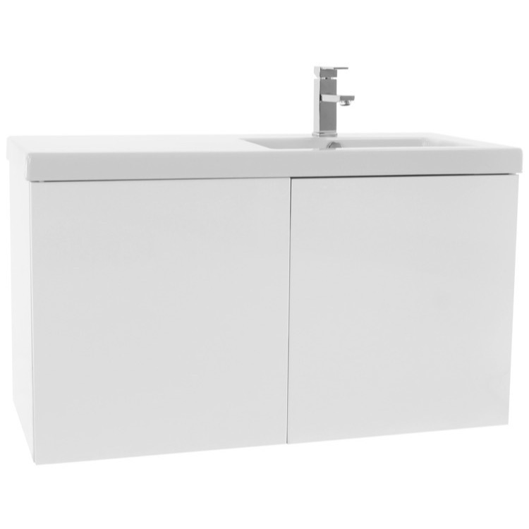 bathroom vanity iotti se20 39 inch glossy white bathroom vanity with